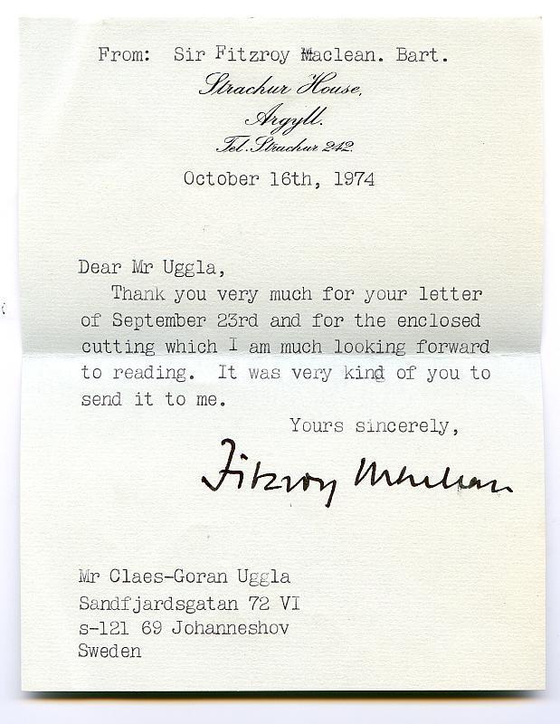 Brief von Fitzroy MacLean