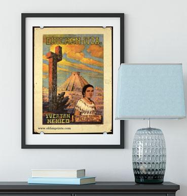 Antiguo póster de turismo de Chichen-Itza