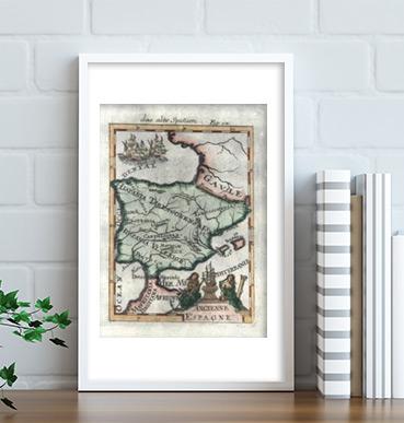 Antiguo mapa de España publicado en 1719 en Alemania