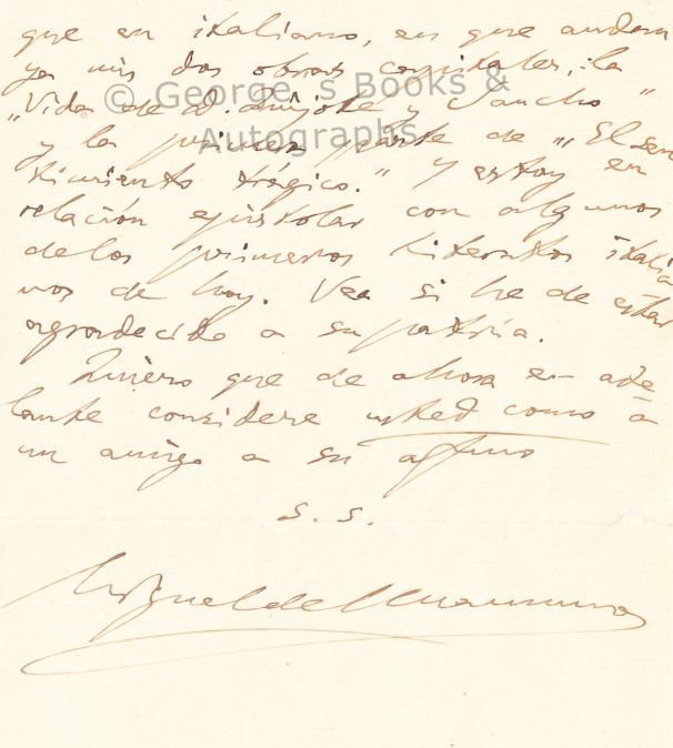 Carta manuscrita de Miguel de Unamuno