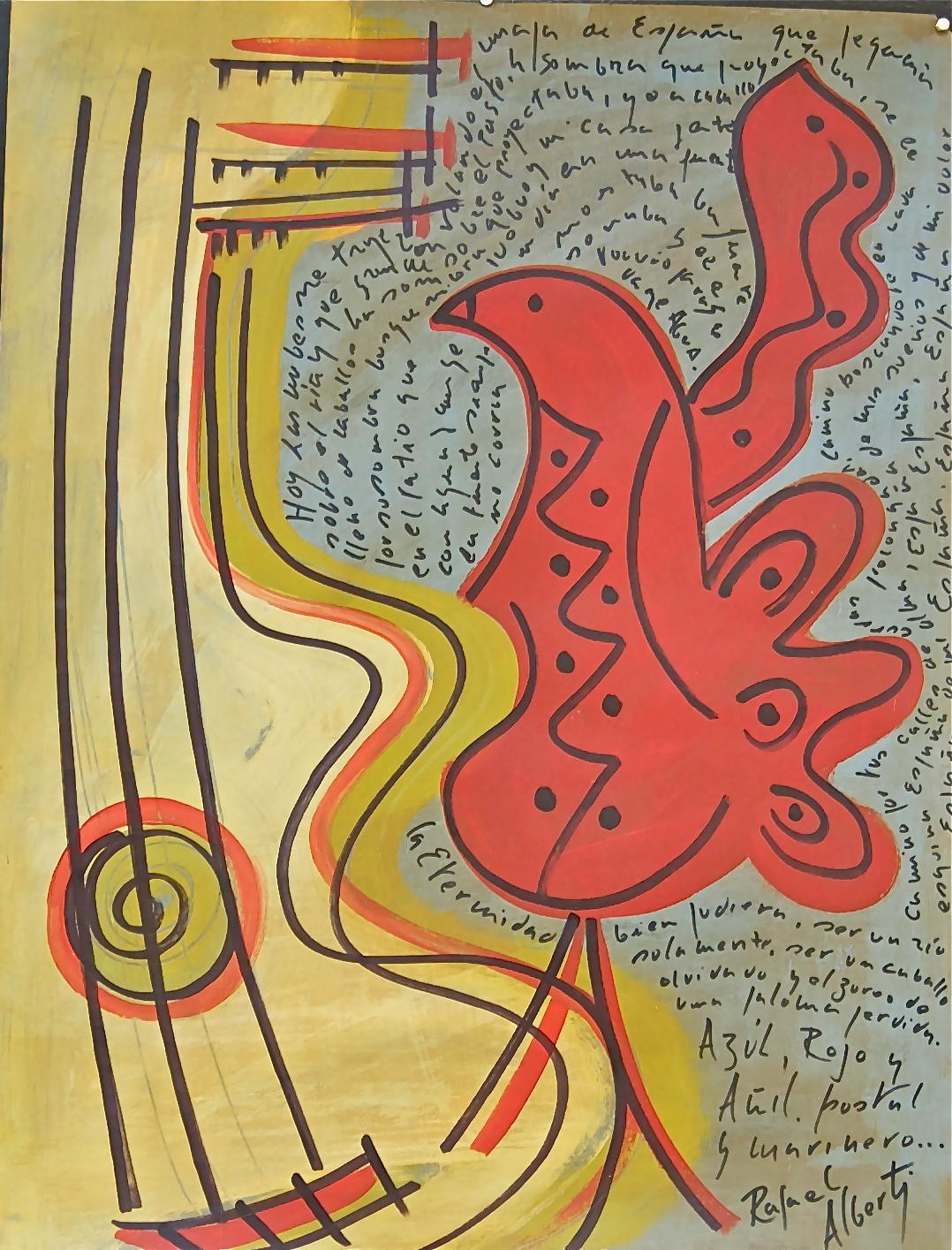 Guitarra y paloma - Pintura de Rafael Alberti