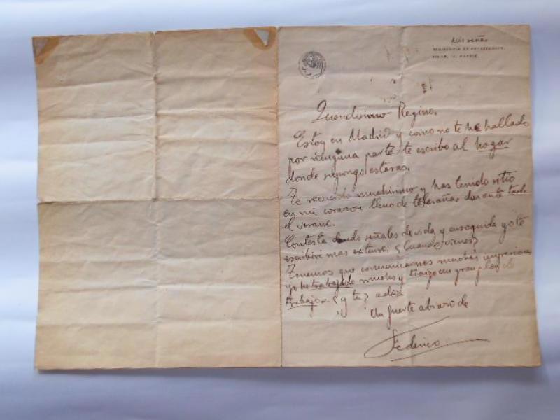 Carta manuscrita de Federico García Lorca
