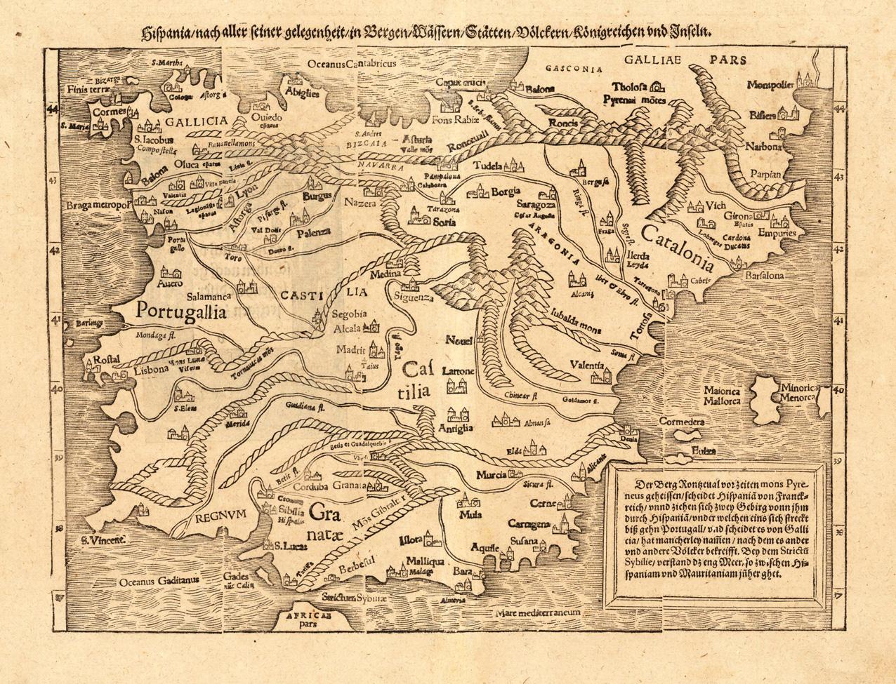 Mapa físico de Espanña, Sebastian Münster