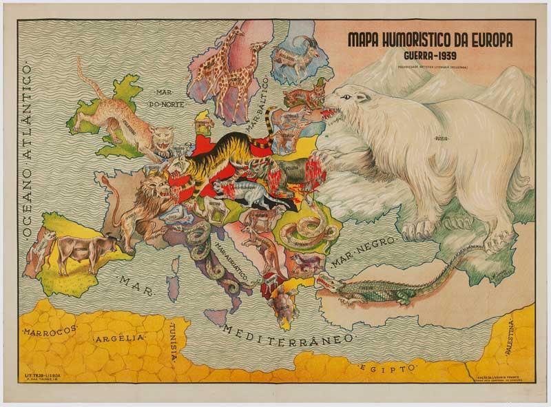 Mapa humorístico de la II Guerra Mundial