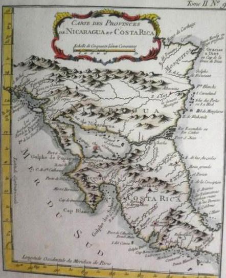 Mapa de Nicaragua y Costa Rica