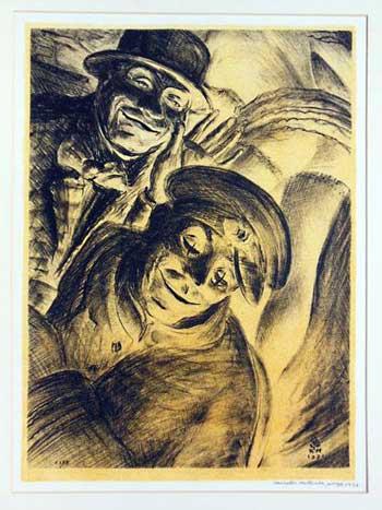 Clownlithographie von Kenneth Hartwell