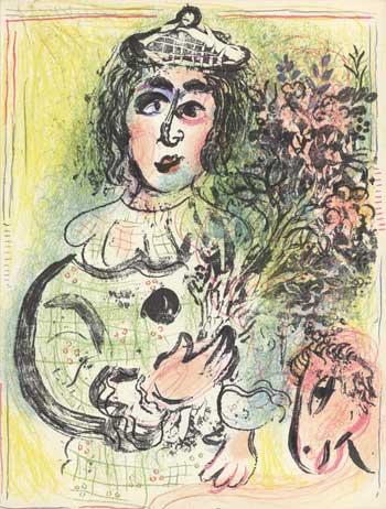 Clown mit Blumen von von Marc Chagall