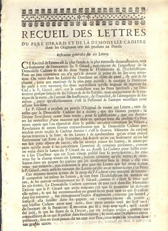 Recueil des lettres du Père Girard et de la Demoiselle Cadière