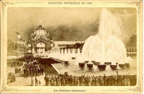 Une photo d'un dessin d'une foule aux Fontaines Lumineuses