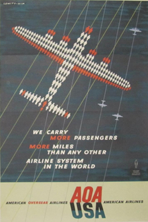 Affiches vintage : AOA (American Overseas Airlines) USA circa 1948