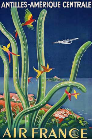 Affiches vintage : Air France Antilles-Amerique Centrale 1948