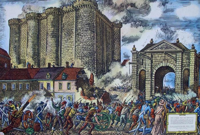 Lithographie de la prise de la Bastille