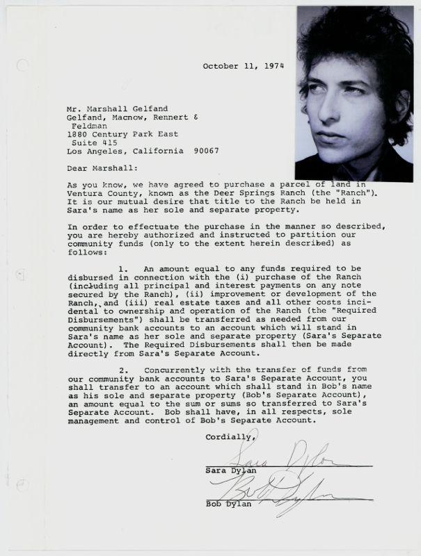 Document signé par Bob Dylan