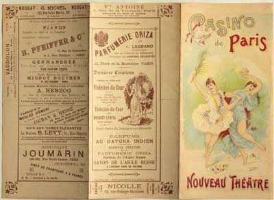 Carte programme du Casino de Paris