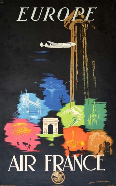 Affiche Air France Europe 1948