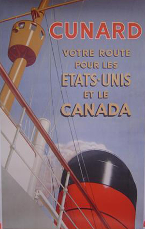 Affiche Cunard Etats Unis et Canada