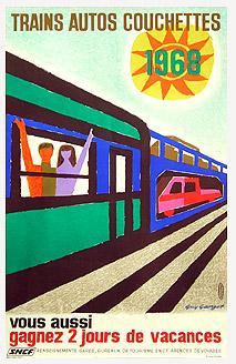 Affiche SNCF - Trains autos couchettes 1968
