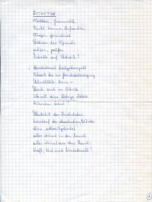 Ästhetik, Poème manuscrit
