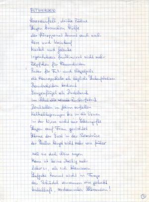 Altwerden, Poème manuscrit