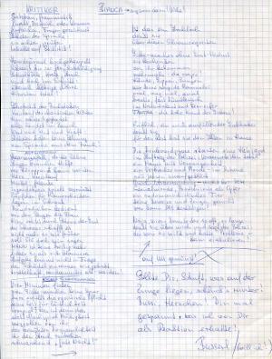 Bianca, Poème manuscrit