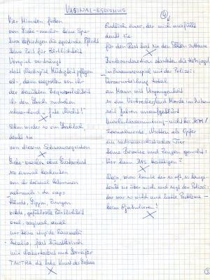 Vaginal-Egoismus, Poème manuscrit