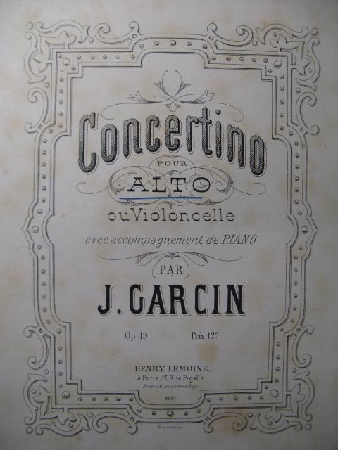Garcin, Concertino Piano Alto