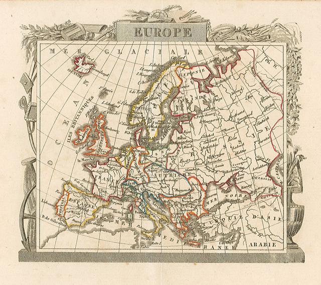 Europa, carta geografica colorata