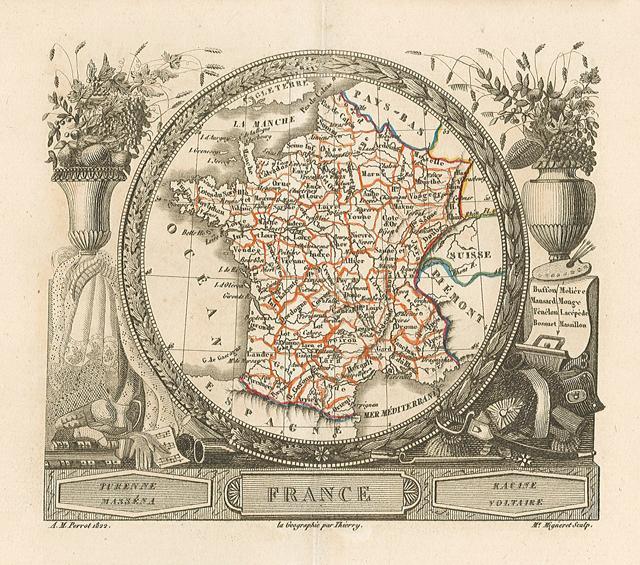 Francia, carta geografica colorata