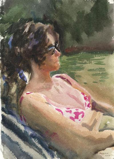 Portrait Art: Sunbathing Woman