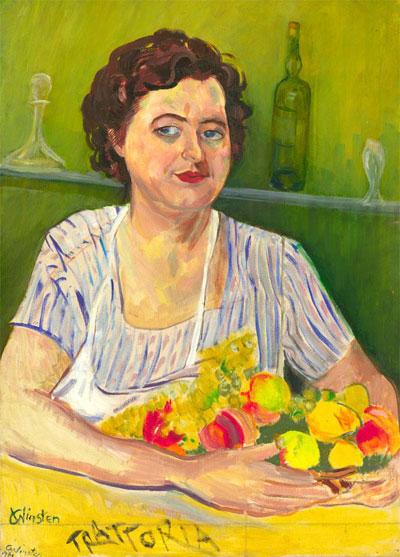 Portrait Art: Woman Holding Fruit