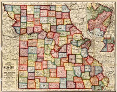 Cram's Superior Map of Missouri 1908