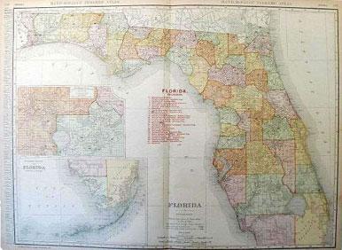 Florida State Map Rand McNally 1908