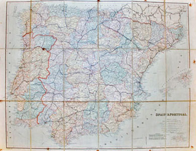 London Atlas Map of Spain and Portugal 1903