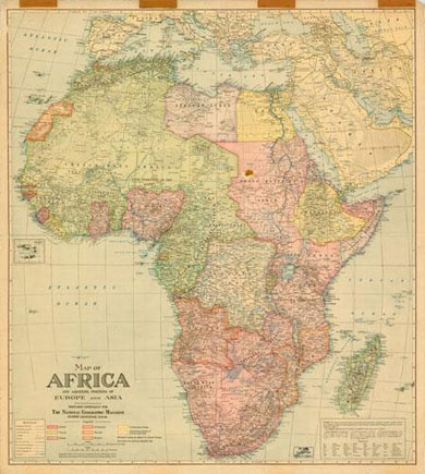 Map of Africa and adjoining Europe and Asia 1922