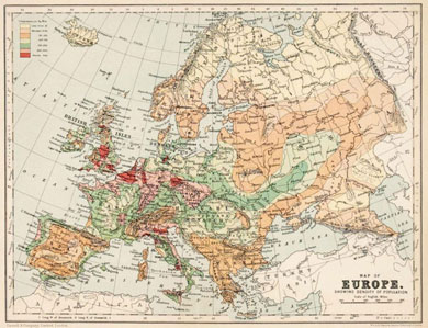 Map of Europe showing density and population 1900