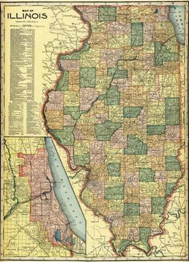 Map of Illinois 1911