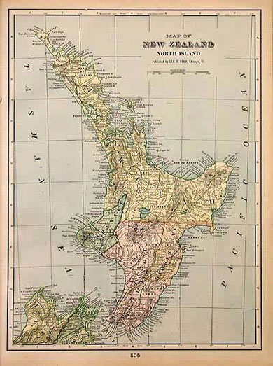 Map of New Zealand 1905
