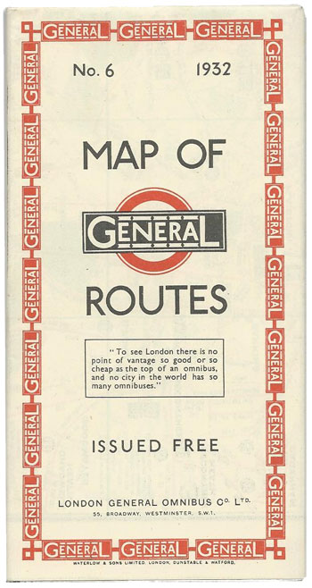 Map of General Routes, London General Omnibus