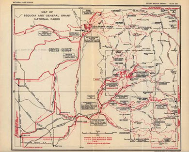Map of Sequoia and General Grant National Parks 1918