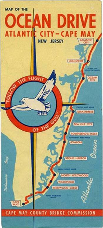 Map of Ocean Drive Atlantic City