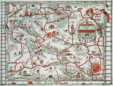 Paint-Brush Map of Wyoming 1938