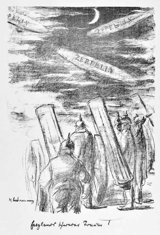 MAX LIEBERMANN (1847 - 1935). 'Englands schwerer Traum'. Deutsche Artilleristen beobachten nachts drei Zeppeline auf der Fahrt nach England.