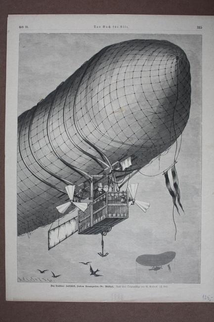 Zeppelin, Das lenkbare Luftschiff, Holzstich von 1888 nach einer Originalskizze von G. Rodeck.