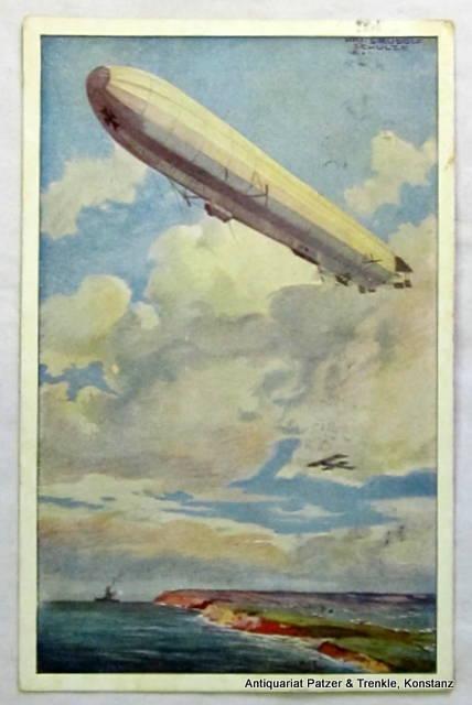 Farbige Ansichtskarte nach Aquarell von Hans Rudolf Schulze. Gelaufen (1922?). Hrsg. v. Deutschen-Luftflotten-Verein, Berlin.