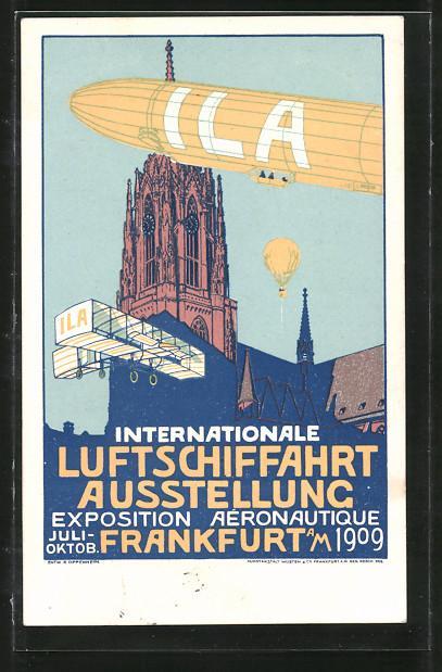 Künstler-Ansichtskarte Frankfurt, Internationale Luftschiffahrt-Ausstellung 1909, Zeppelin am Dom.