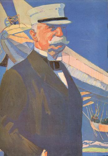 Porträt. Halbfigur, im Hintergund Zeppelin.