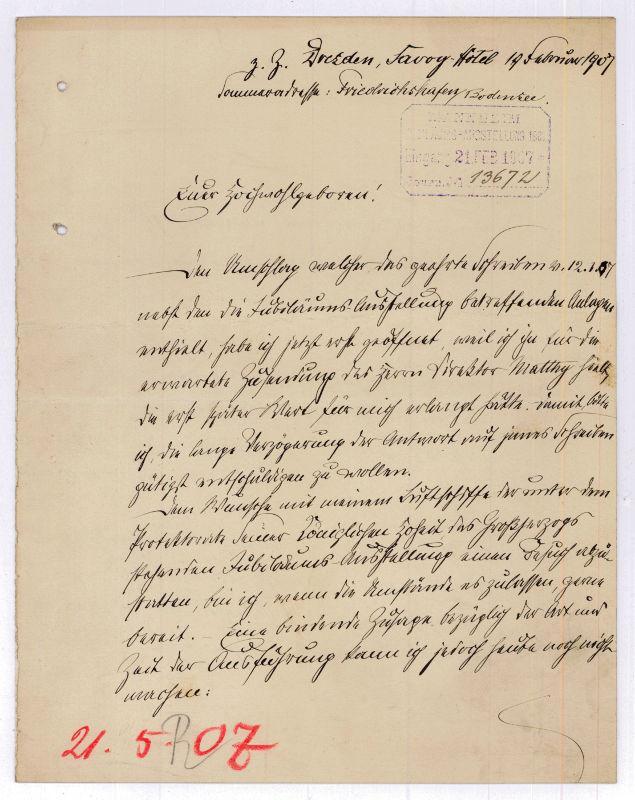 Autograph letter signed ('Gf. Zeppelin').