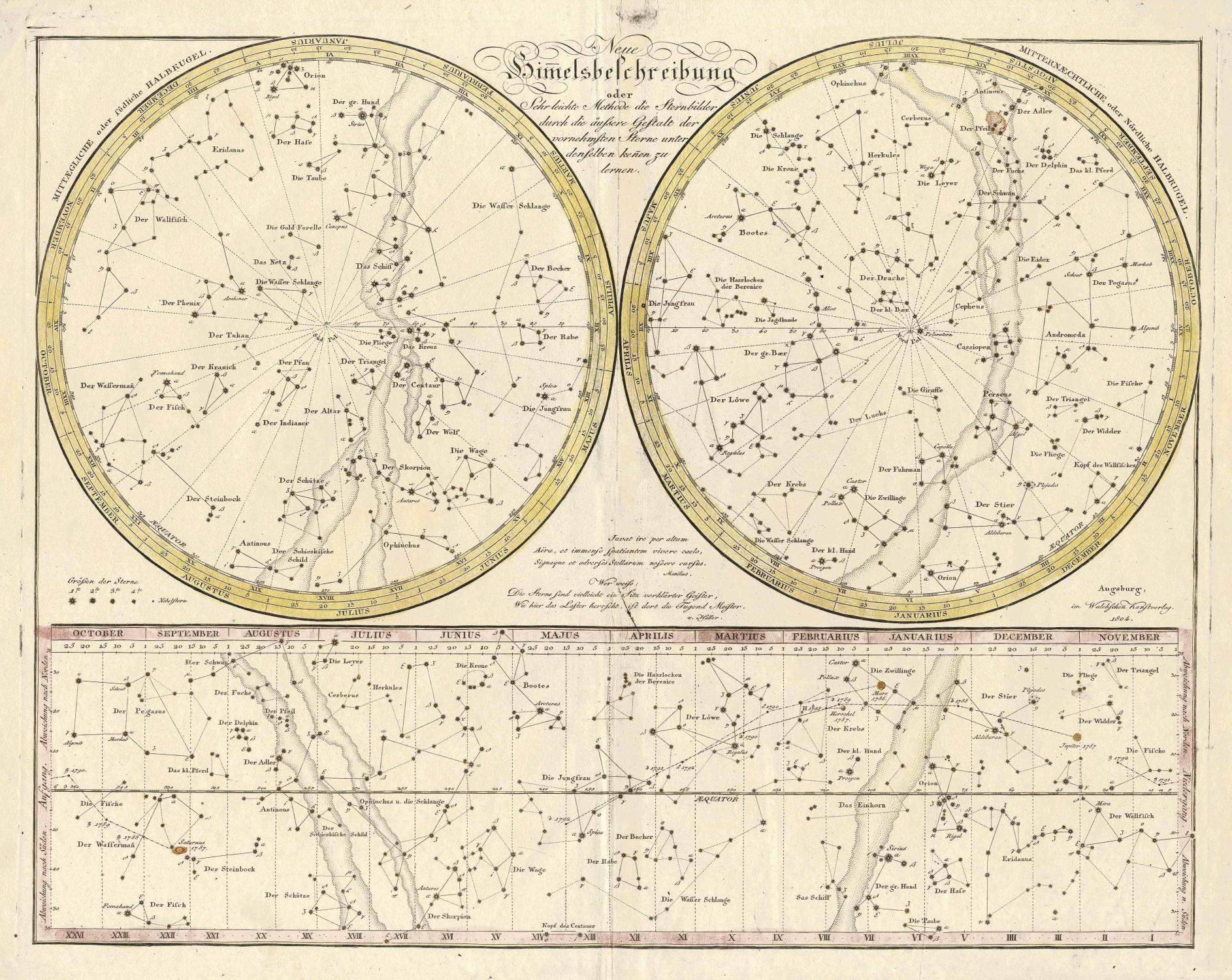 Neue Himelsbeschreibung oder Sehr leichte Methode die Sternbilder durch die äussere Gestalt der vornehmsten Sterne unter denselben kenen zu lernen
