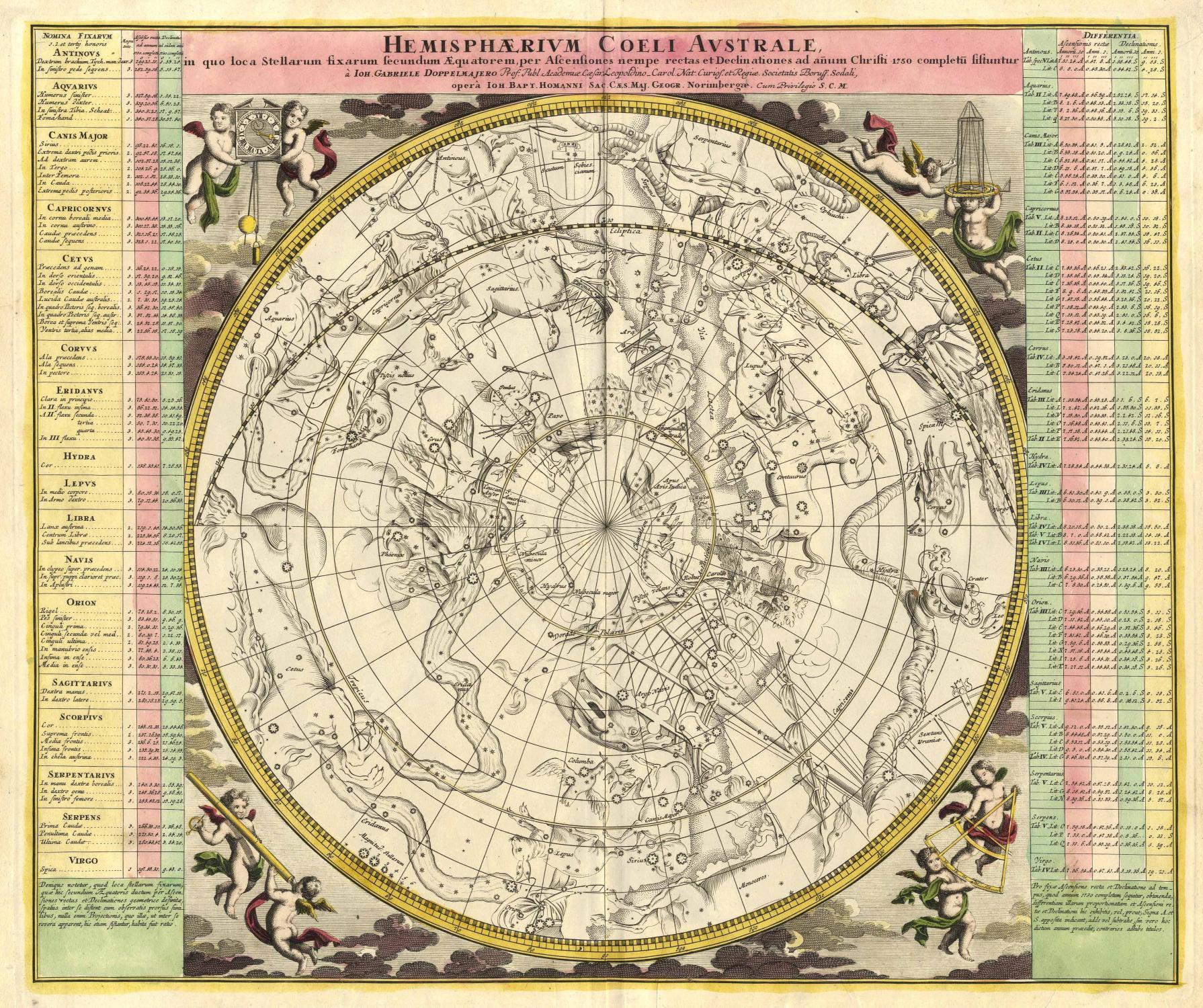 Hemisphaerium Coeli Australe, in quo loca Stellarum fixarum secundum Aequatorem, per Ascensiones nempe rectas et Declinationes ad anum Christi 1730 completu sistuntur â Ioh